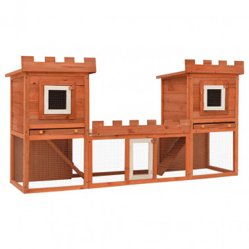 Kültéri nagyméretű nyúlketrec/kisállatketrec két házikóval - ingyenes szállítás