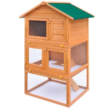 Kültéri 3-szintes fa nyúlketrec/kisállatketrec - utánvéttel vagy ingyenes szállítással