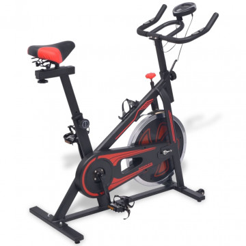 Fekete-piros spinning szobabicikli pulzusmérővel - ingyenes szállítás