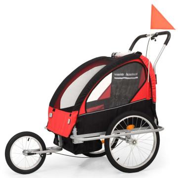 2 az 1-ben fekete/piros kerékpár utánfutó és babakocsi - ingyenes szállítás