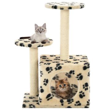 Bézs macskabútor szizál kaparófákkal 60 cm - ingyenes szállítás