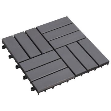 20 db antikolt szürke tömör akácfa padlólap 30 x 30 cm - utánvéttel vagy ingyenes szállítással