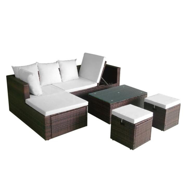 4-részes barna polyrattan kerti bútorszett párnákkal - ingyenes szállítás