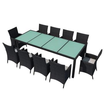 11-részes fekete polyrattan kültéri étkezőszett párnákkal - ingyenes szállítás