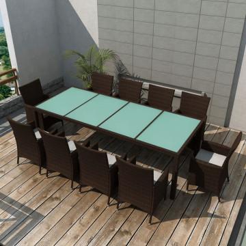 11-részes barna kültéri polyrattan étkezőszett párnákkal - ingyenes szállítás