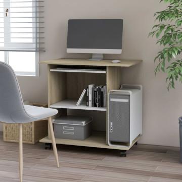 Fehér és sonoma-tölgy forgácslap számítógépasztal 80x50x75 cm - utánvéttel vagy ingyenes szállítással