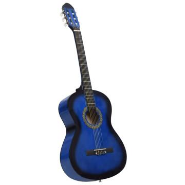 Kék 4/4-es klasszikus gitár kezdőknek tokkal 39