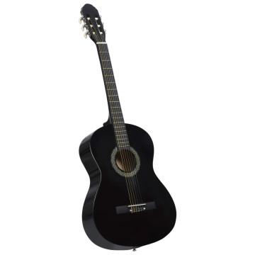 Fekete 4/4-es klasszikus gitár kezdőknek tokkal 39
