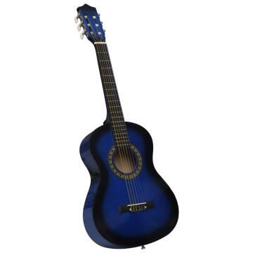 Kék 1/2-es klasszikus gitár kezdőknek és gyereknek tokkal 34