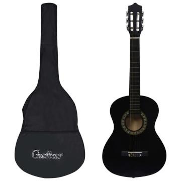 Fekete 1/2-es klasszikus gitár kezdőknek és gyereknek tokkal - utánvéttel vagy ingyenes szállítással