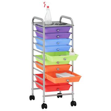 10 fiókos mozgatható többszínű műanyag tárolókocsi - utánvéttel vagy ingyenes szállítással