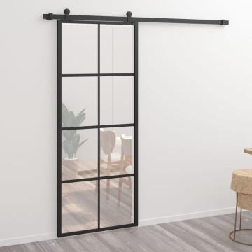 Fekete alumínium és ESG üveg tolóajtó 76 x 205 cm - utánvéttel vagy ingyenes szállítással