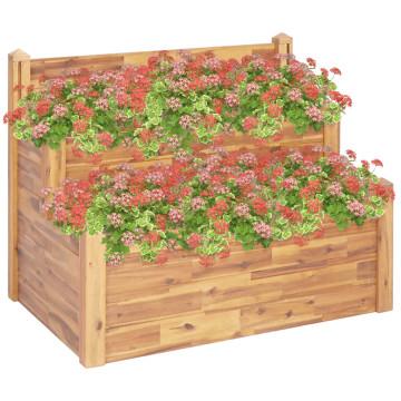 2-szintes kerti akácfa virágtartó 110 x 75 x 84 cm - utánvéttel vagy ingyenes szállítással