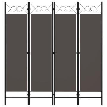 Antracitszürke 4 paneles paraván 160 x 180 cm - utánvéttel vagy ingyenes szállítással