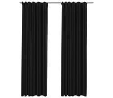 2 db antracit vászonhatású sötétítőfüggöny kampókkal 140 x 225 cm - utánvéttel vagy ingyenes szállítással