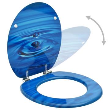 2 db kék vízcseppmintás MDF WC-ülőke fedéllel - utánvéttel vagy ingyenes szállítással