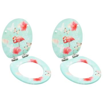 2 db flamingómintás MDF WC-ülőke finoman záródó fedéllel - utánvéttel vagy ingyenes szállítással