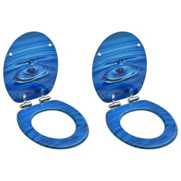 2 db kék vízcseppmintás MDF WC-ülőke finoman záródó fedéllel - utánvéttel vagy ingyenes szállítással