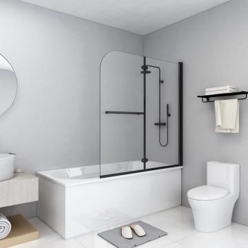 2 paneles fekete ESG zuhanyzó összecsukható ajtóval 120x140 cm - utánvéttel vagy ingyenes szállítással