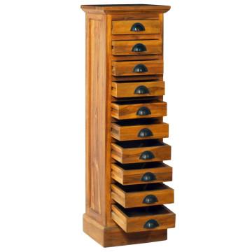 10 fiókos tömör tíkfa szekrény 35 x 30 x 120 cm - utánvéttel vagy ingyenes szállítással