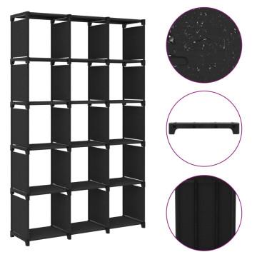 15 rekeszes fekete szövet polc 103 x 30 x 175,5 cm - utánvéttel vagy ingyenes szállítással