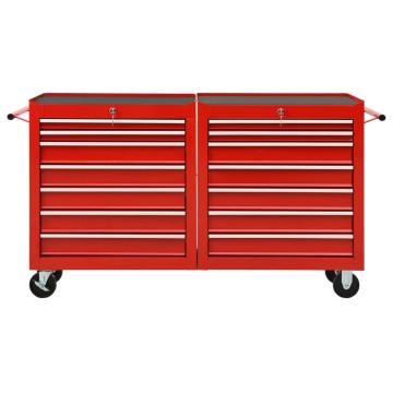 14 fiókos piros acél szerszámos kocsi - utánvéttel vagy ingyenes szállítással