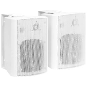 2 db fehér bel- és kültéri fali sztereó hangszóró 100 W - utánvéttel vagy ingyenes szállítással