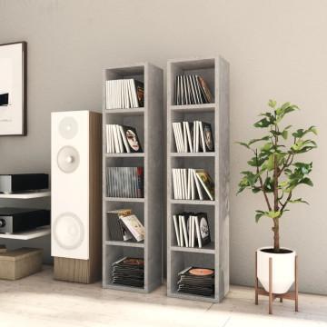 2 db betonszürke forgácslap CD-tartó szekrény 21 x 16 x 93,5 cm - utánvéttel vagy ingyenes szállítással