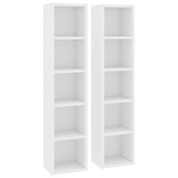 2 db fehér forgácslap CD-tartó szekrény 21 x 16 x 93,5 cm - utánvéttel vagy ingyenes szállítással