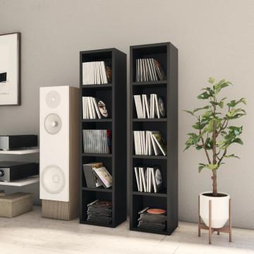 2 db fekete forgácslap CD-tartó szekrény 21 x 16 x 93,5 cm - utánvéttel vagy ingyenes szállítással