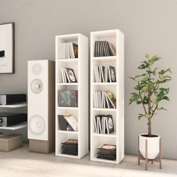 2 db magasfényű fehér forgácslap CD-szekrény 21 x 16 x 93,5 cm - utánvéttel vagy ingyenes szállítással