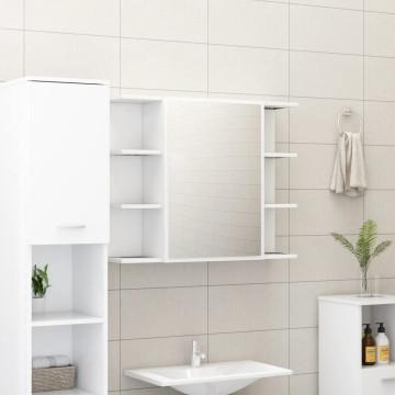 Fehér forgácslap fürdőszobai tükör 80 x 20,5 x 64 cm - utánvéttel vagy ingyenes szállítással