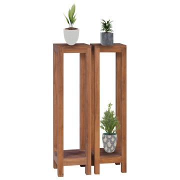 2 db tömör tíkfa virágtartó állvány 25 x 25 x 100 cm - utánvéttel vagy ingyenes szállítással