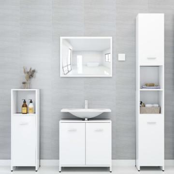 4 részes fehér forgácslap fürdőszobai bútorszett - utánvéttel vagy ingyenes szállítással