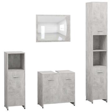 4 részes betonszürke forgácslap fürdőszobai bútorszett - utánvéttel vagy ingyenes szállítással