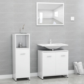 3 részes fehér forgácslap fürdőszobai bútorszett - utánvéttel vagy ingyenes szállítással
