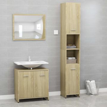 3 részes sonoma-tölgy színű forgácslap fürdőszobai bútorszett - utánvéttel vagy ingyenes szállítással