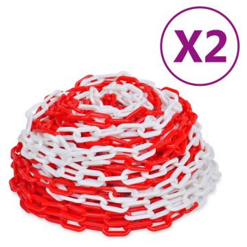 2 db piros és fehér műanyag figyelmeztető lánc 30 m - utánvéttel vagy ingyenes szállítással