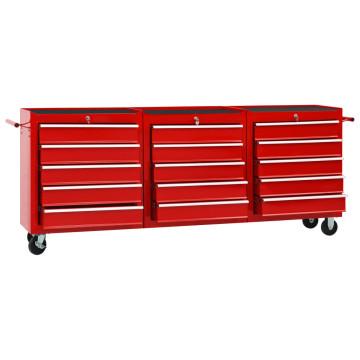 15 fiókos piros acél szerszámos kocsi - utánvéttel vagy ingyenes szállítással