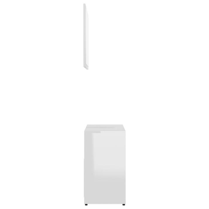 Magasfényű fehér forgácslap fürdőszobai bútorszett - utánvéttel vagy ingyenes szállítással