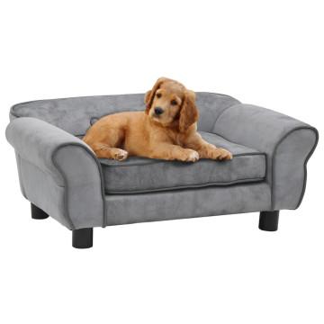 Szürke plüss kutyakanapé 72 x 45 x 30 cm - utánvéttel vagy ingyenes szállítással