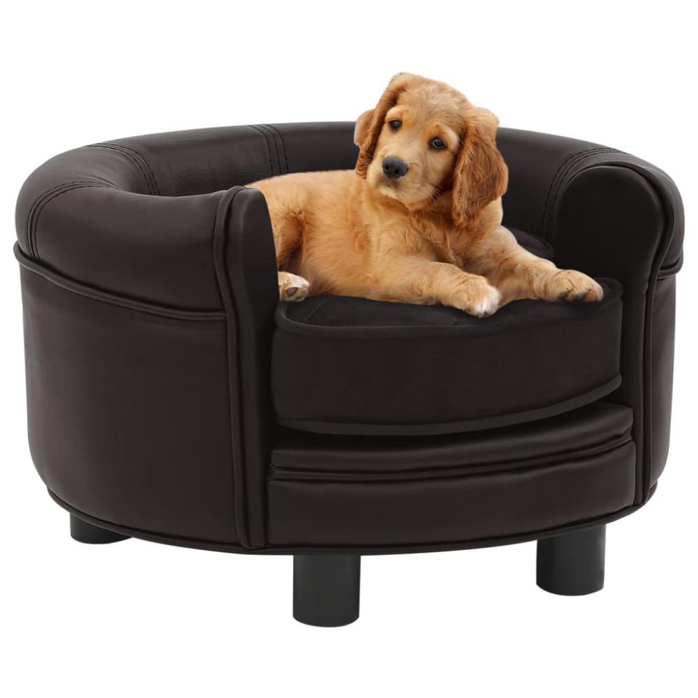 Barna plüss és műbőr kutyakanapé 48 x 48 x 32 cm - utánvéttel vagy ingyenes szállítással