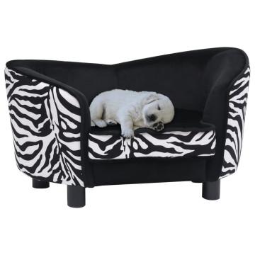 Fekete plüss kutyakanapé 68 x 38 x 38 cm - utánvéttel vagy ingyenes szállítással