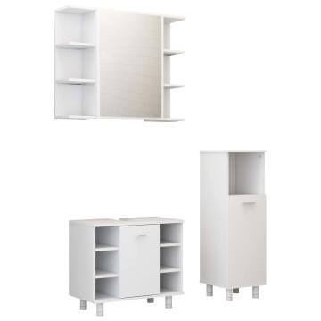 3 részes magasfényű fehér forgácslap fürdőszobai bútorszett - utánvéttel vagy ingyenes szállítással