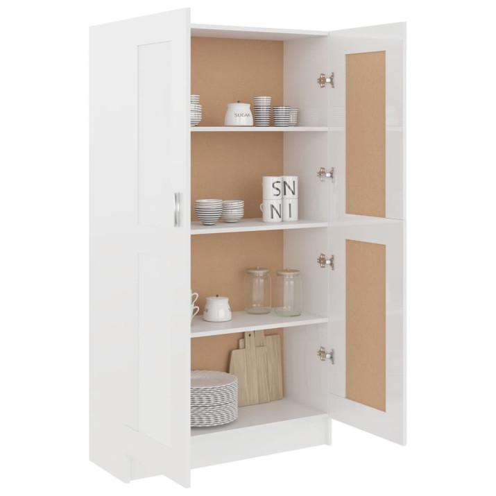 Magasfényű fehér forgácslap könyvszekrény 82,5 x 30,5 x 150 cm - utánvéttel vagy ingyenes szállítással
