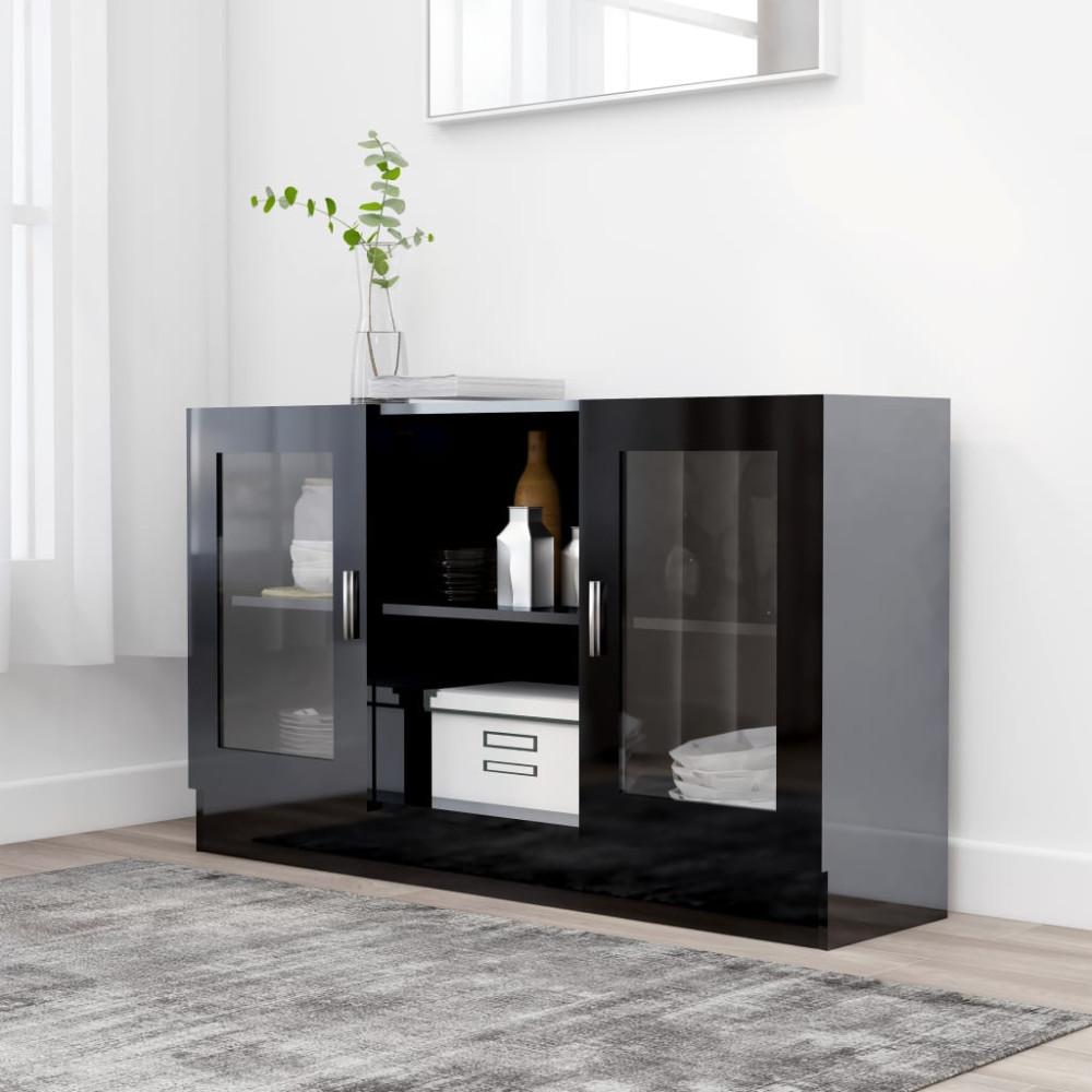 Magasfényű fekete forgácslap vitrinszekrény 120 x 30,5 x 70 cm - utánvéttel vagy ingyenes szállítással