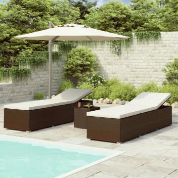 3 részes barna polyrattan kerti napozóágy szett asztallal - utánvéttel vagy ingyenes szállítással