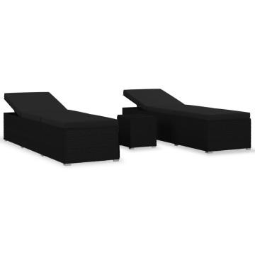 3 részes fekete polyrattan kerti napozóágy szett asztallal - utánvéttel vagy ingyenes szállítással