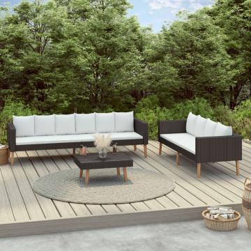 3 részes fekete polyrattan kerti ülőgarnitúra párnákkal - utánvéttel vagy ingyenes szállítással