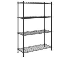 4 szintes fekete tárolópolc 90 x 35 x 137 cm 200 kg - utánvéttel vagy ingyenes szállítással